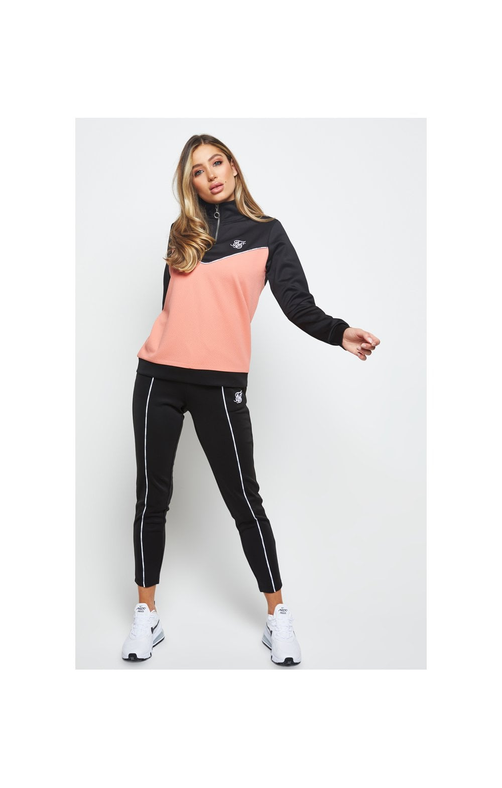 SikSilk Duality Quarter Zip Track Top - Black & Coral (3)