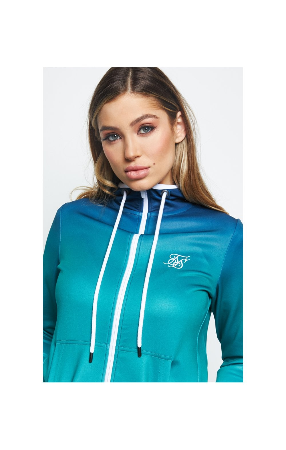 SikSilk Fade Tape Track Jacket - Navy & Teal (1)