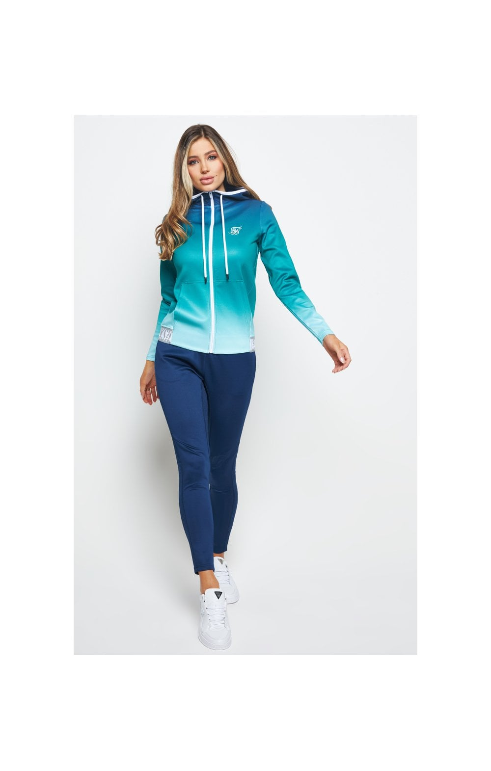 SikSilk Fade Tape Track Jacket - Navy & Teal (3)