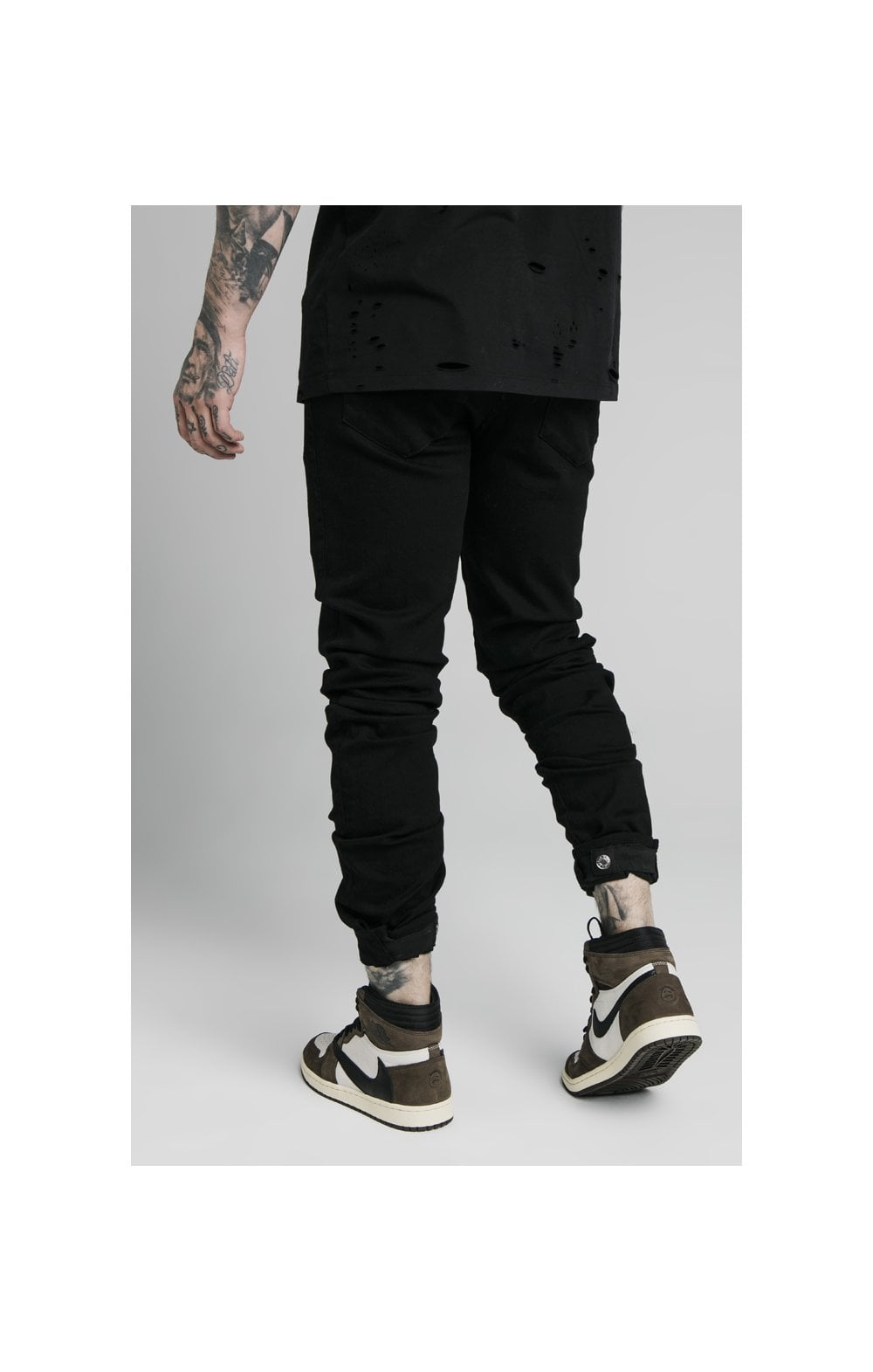 Load image into Gallery viewer, SikSilk Elasticated Strap Cuff Denim Jeans – Black (1)