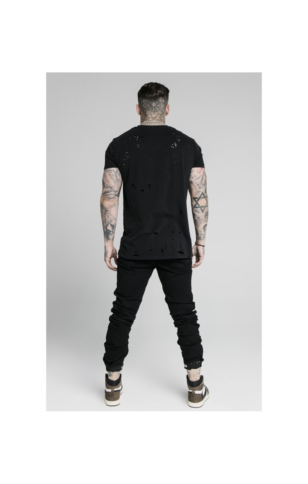 Load image into Gallery viewer, SikSilk Elasticated Strap Cuff Denim Jeans – Black (6)