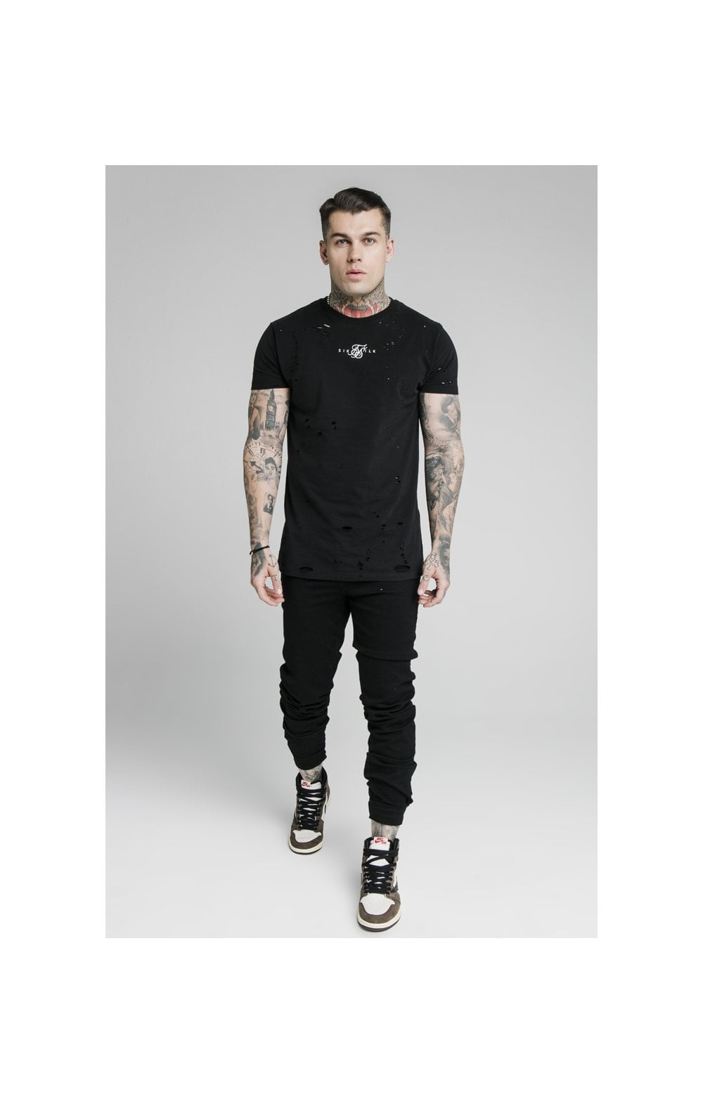 Load image into Gallery viewer, SikSilk Elasticated Strap Cuff Denim Jeans – Black (3)