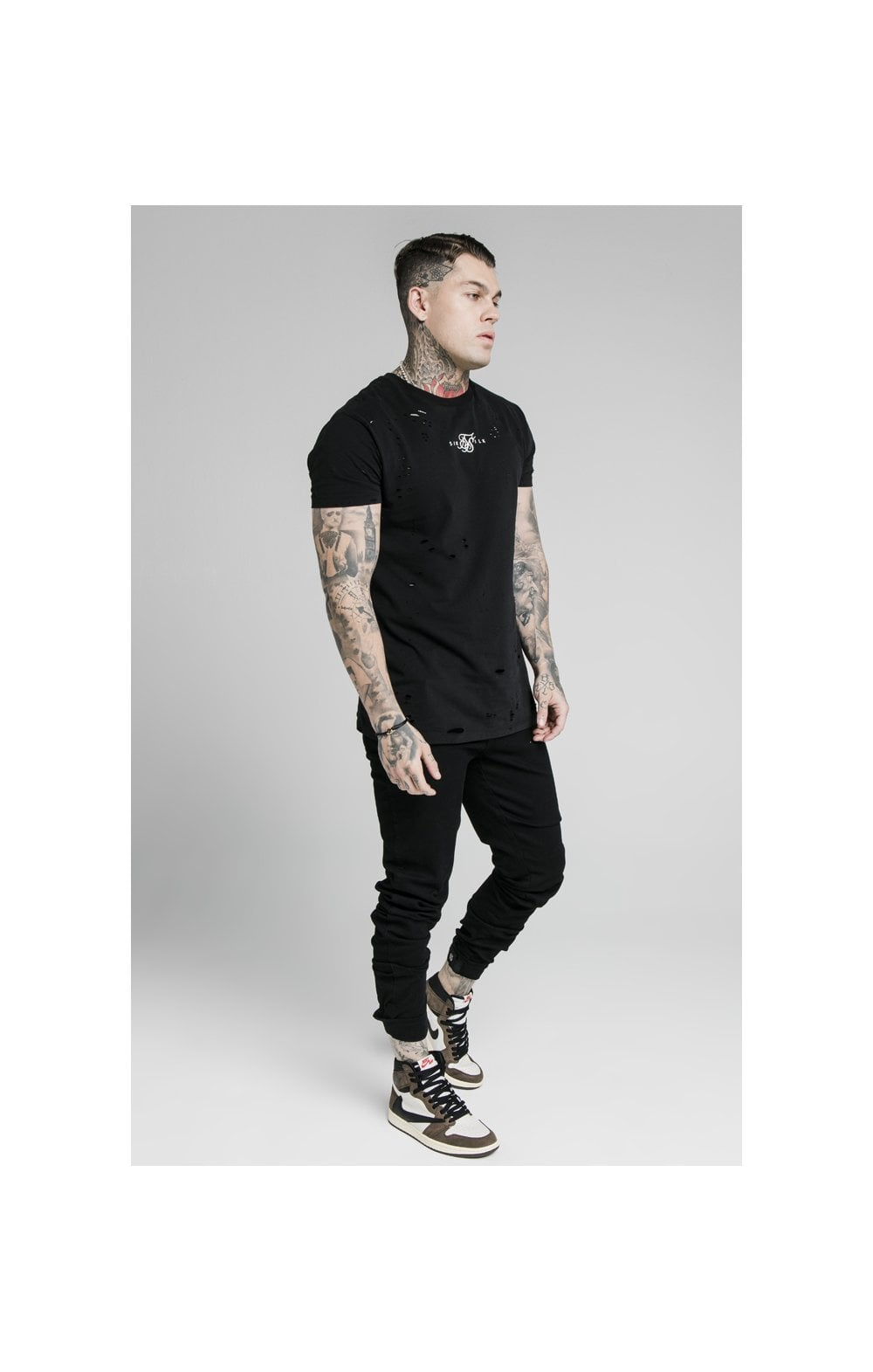 Load image into Gallery viewer, SikSilk Elasticated Strap Cuff Denim Jeans – Black (4)