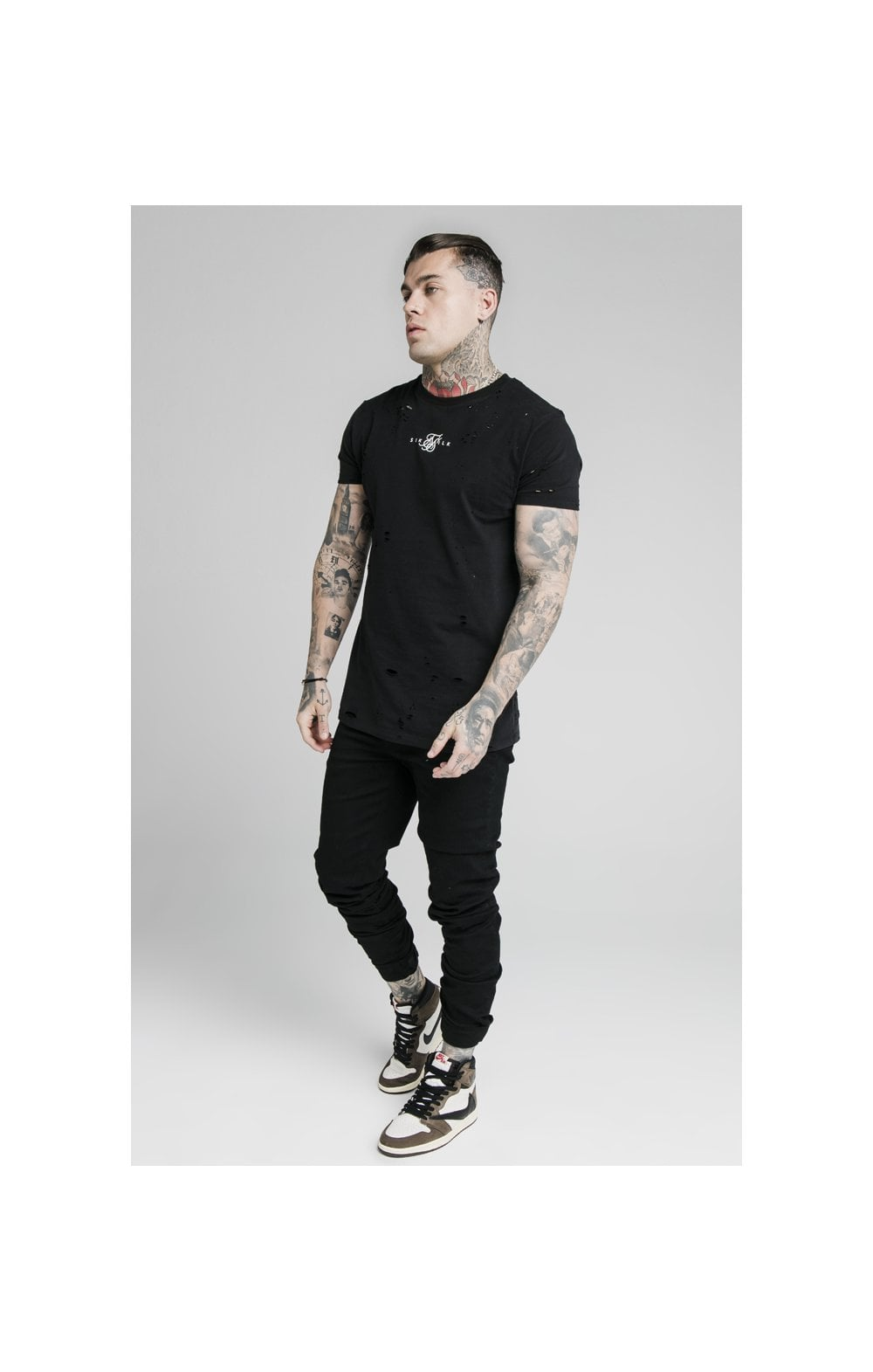 Load image into Gallery viewer, SikSilk Elasticated Strap Cuff Denim Jeans – Black (5)
