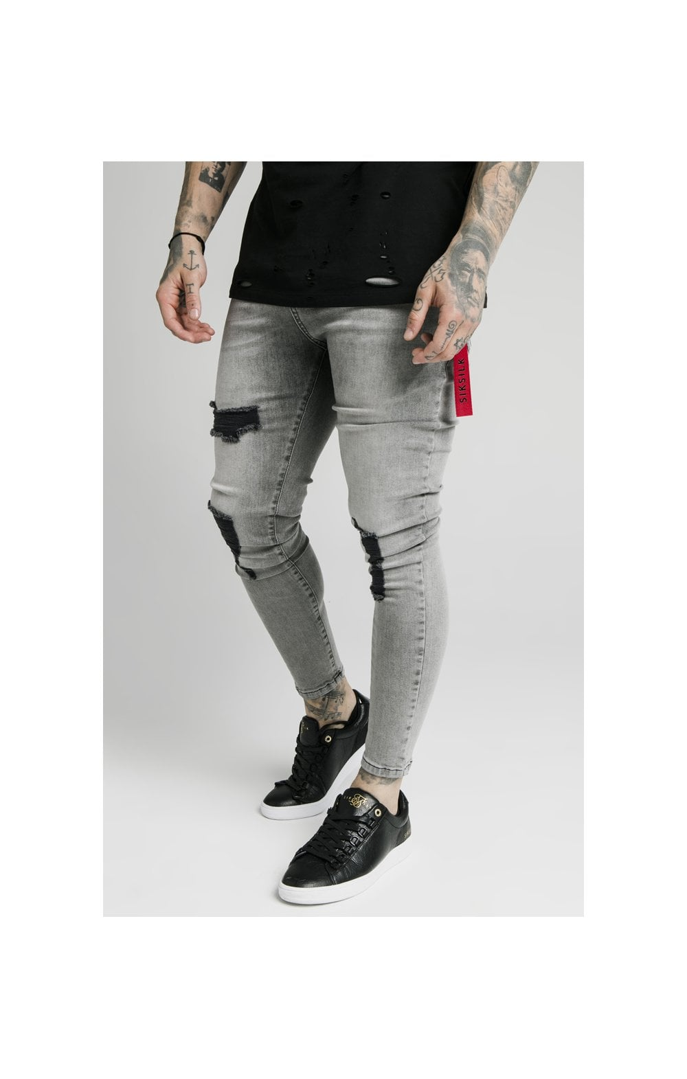 SikSilk Distressed Flight Denims – Snow Wash
