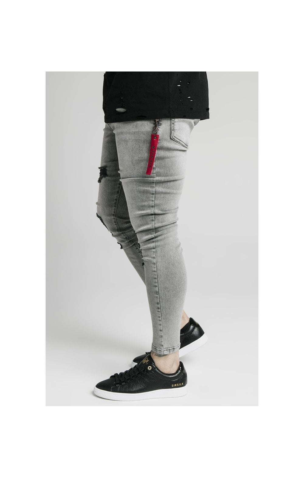 SikSilk Distressed Flight Denims – Snow Wash (1)