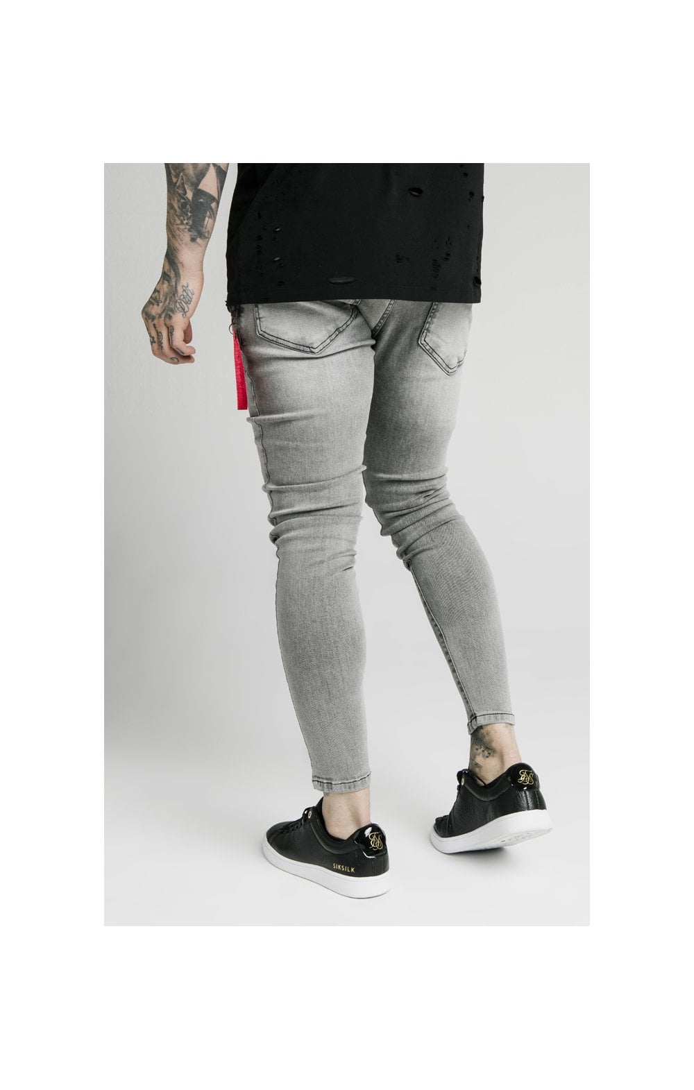 SikSilk Distressed Flight Denims – Snow Wash (2)