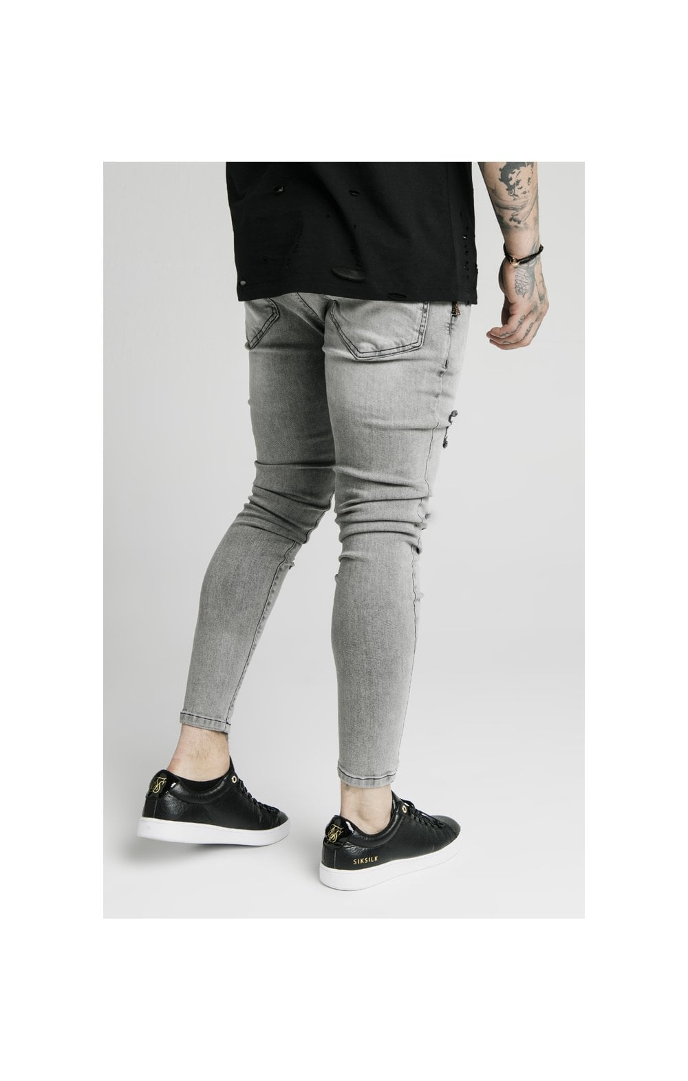 Load image into Gallery viewer, SikSilk Distressed Flight Denims – Snow Wash (3)