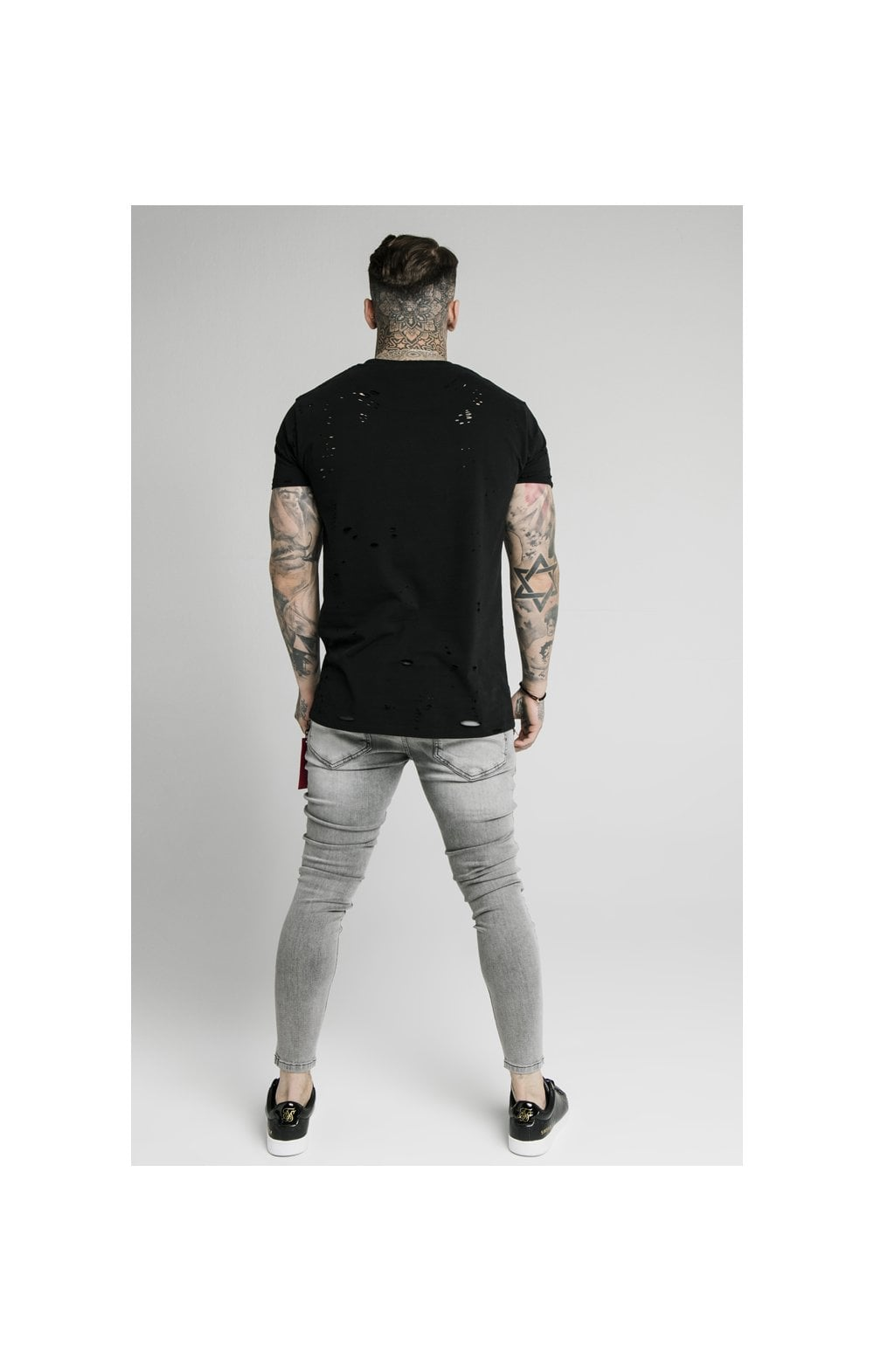 Load image into Gallery viewer, SikSilk Distressed Flight Denims – Snow Wash (6)