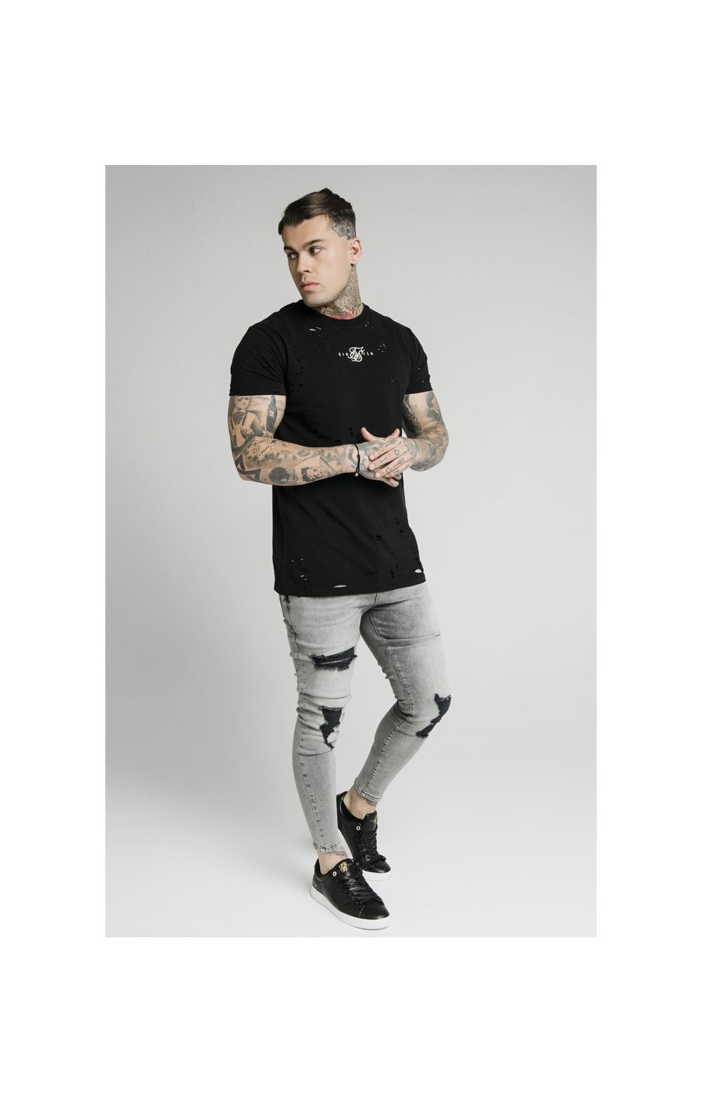 SikSilk Distressed Flight Denims – Snow Wash (4)