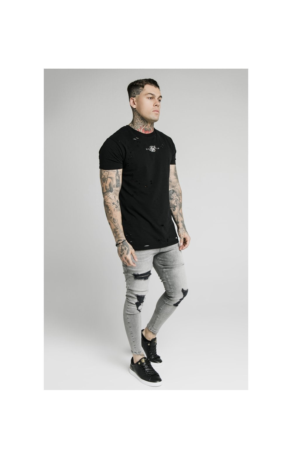 SikSilk Distressed Flight Denims – Snow Wash (5)