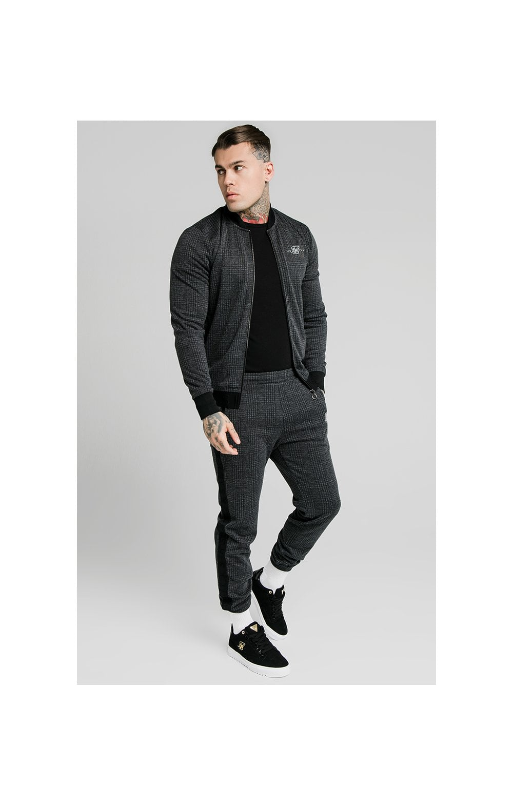 Load image into Gallery viewer, SikSilk Tonal Check Bomber – Grey (2)