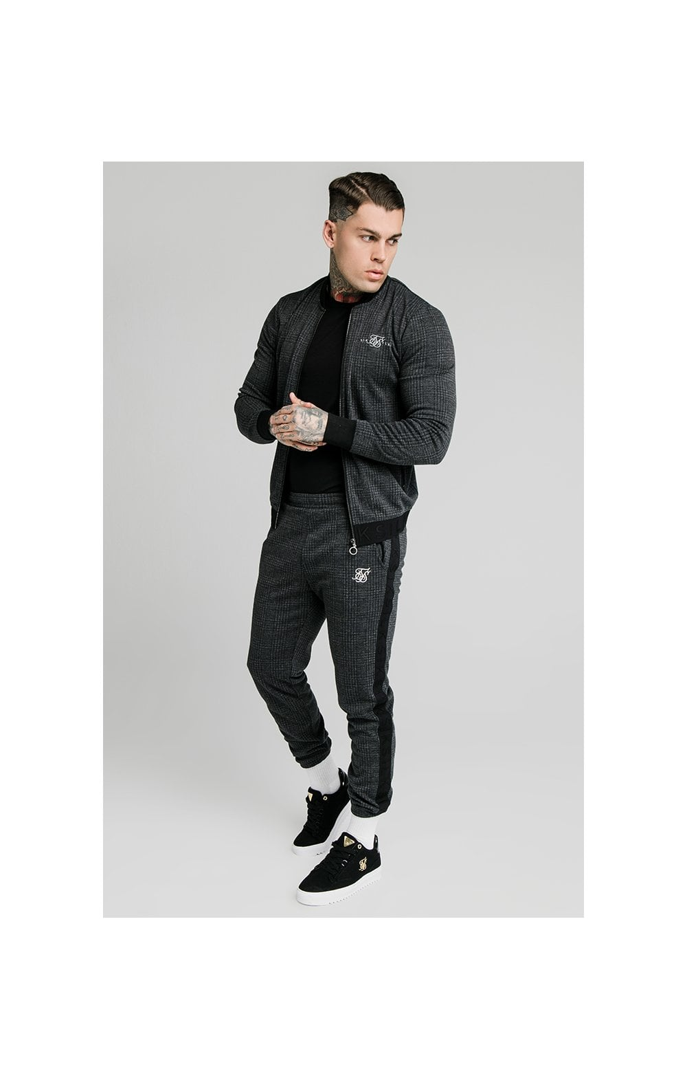 Load image into Gallery viewer, SikSilk Tonal Check Bomber – Grey (3)