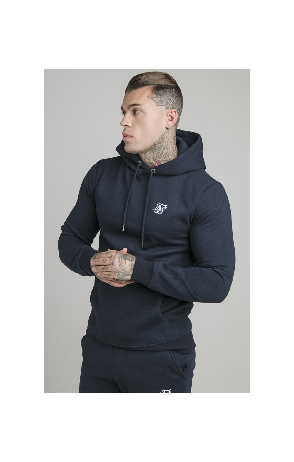 Load image into Gallery viewer, SikSilk Muscle Fit Overhead Hoodie - Navy