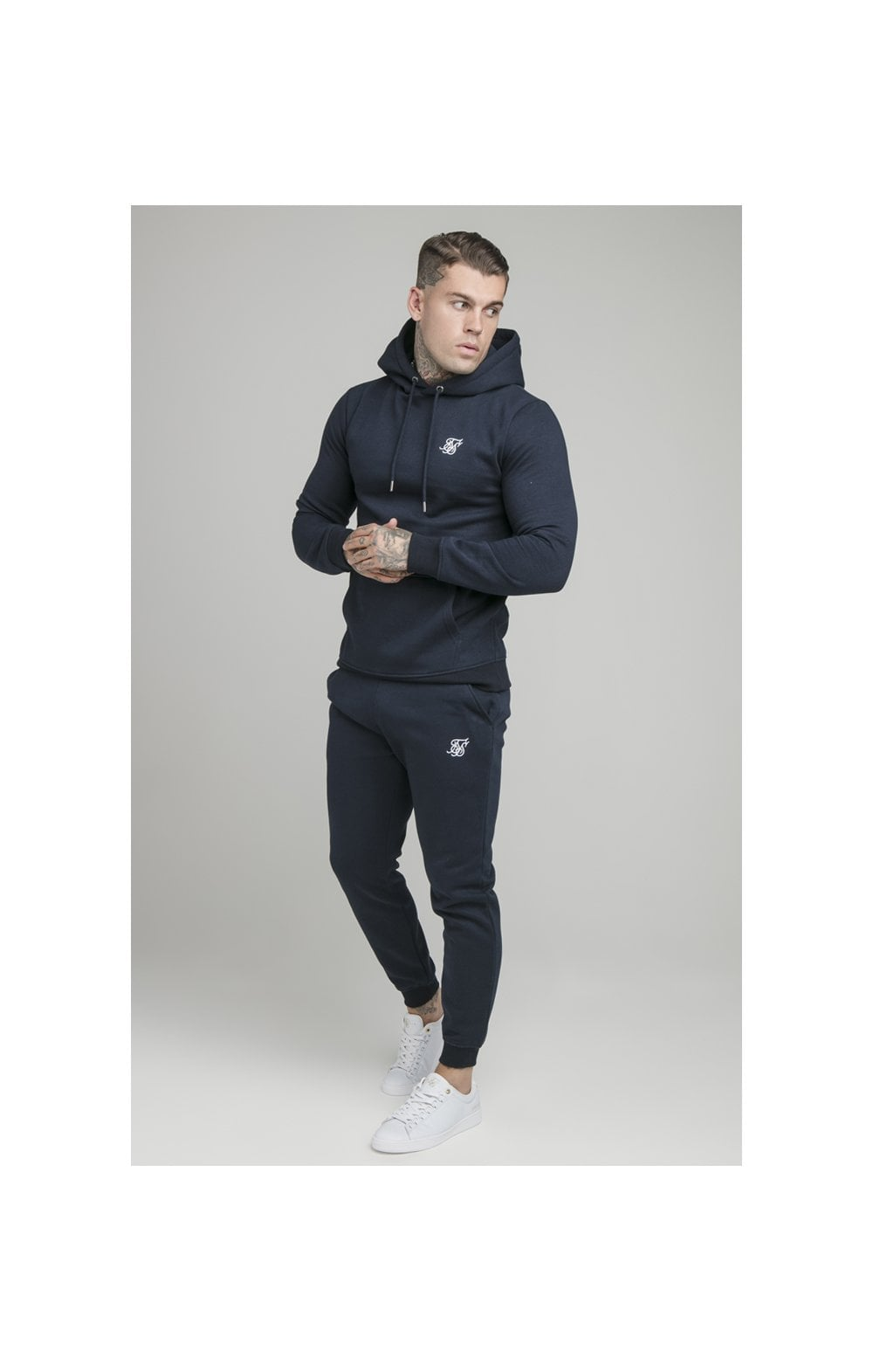 Load image into Gallery viewer, SikSilk Muscle Fit Overhead Hoodie - Navy (3)