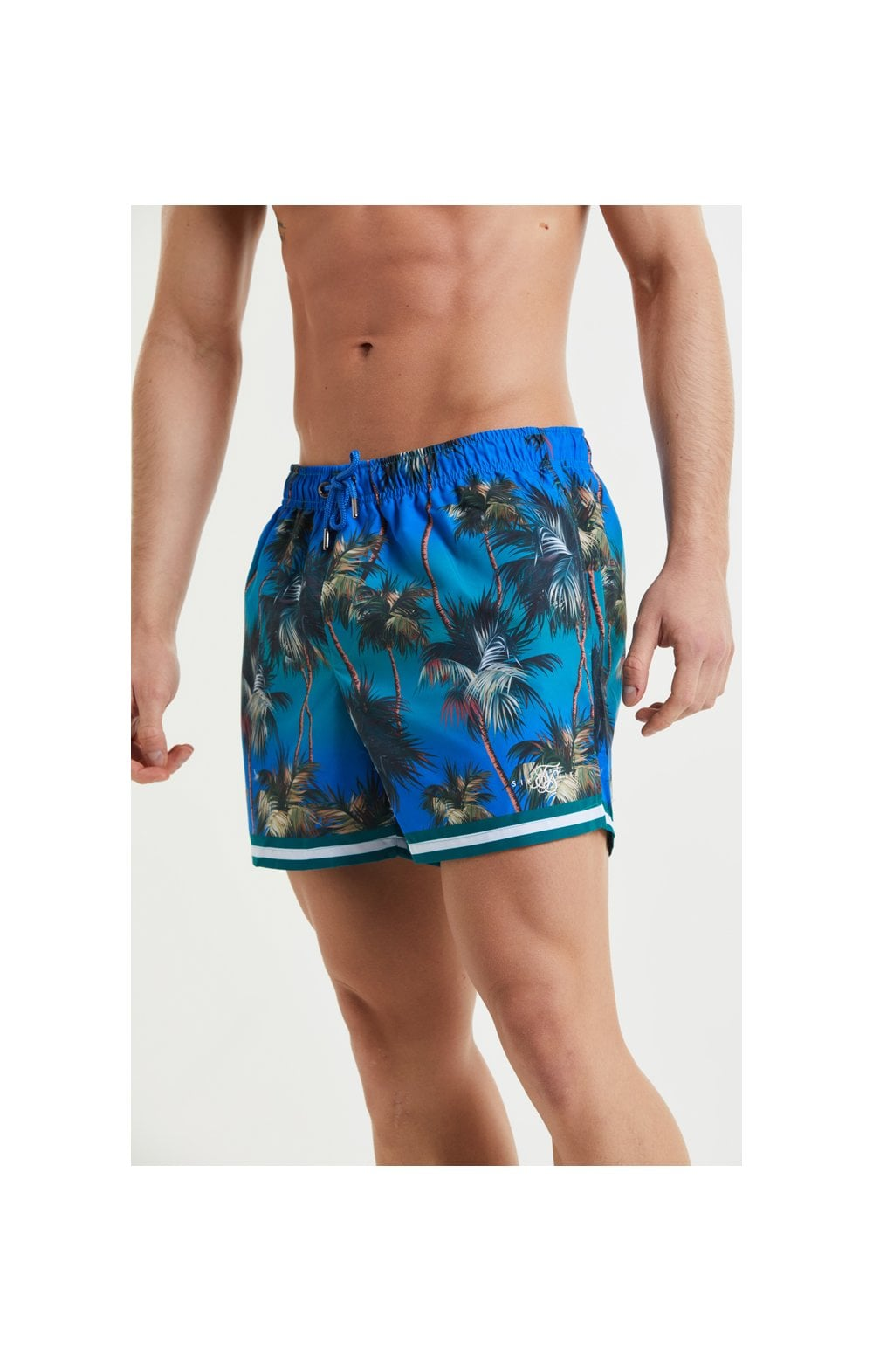 Load image into Gallery viewer, SikSilk Palm Swim Shorts - Blue & Green