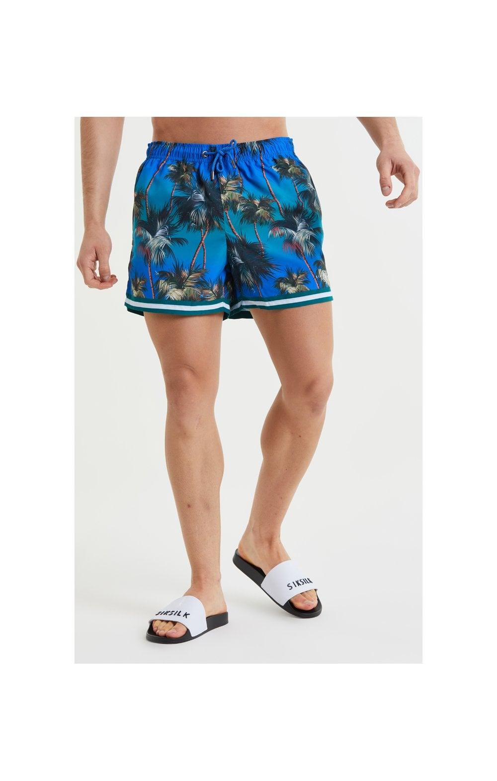 Load image into Gallery viewer, SikSilk Palm Swim Shorts - Blue & Green (1)