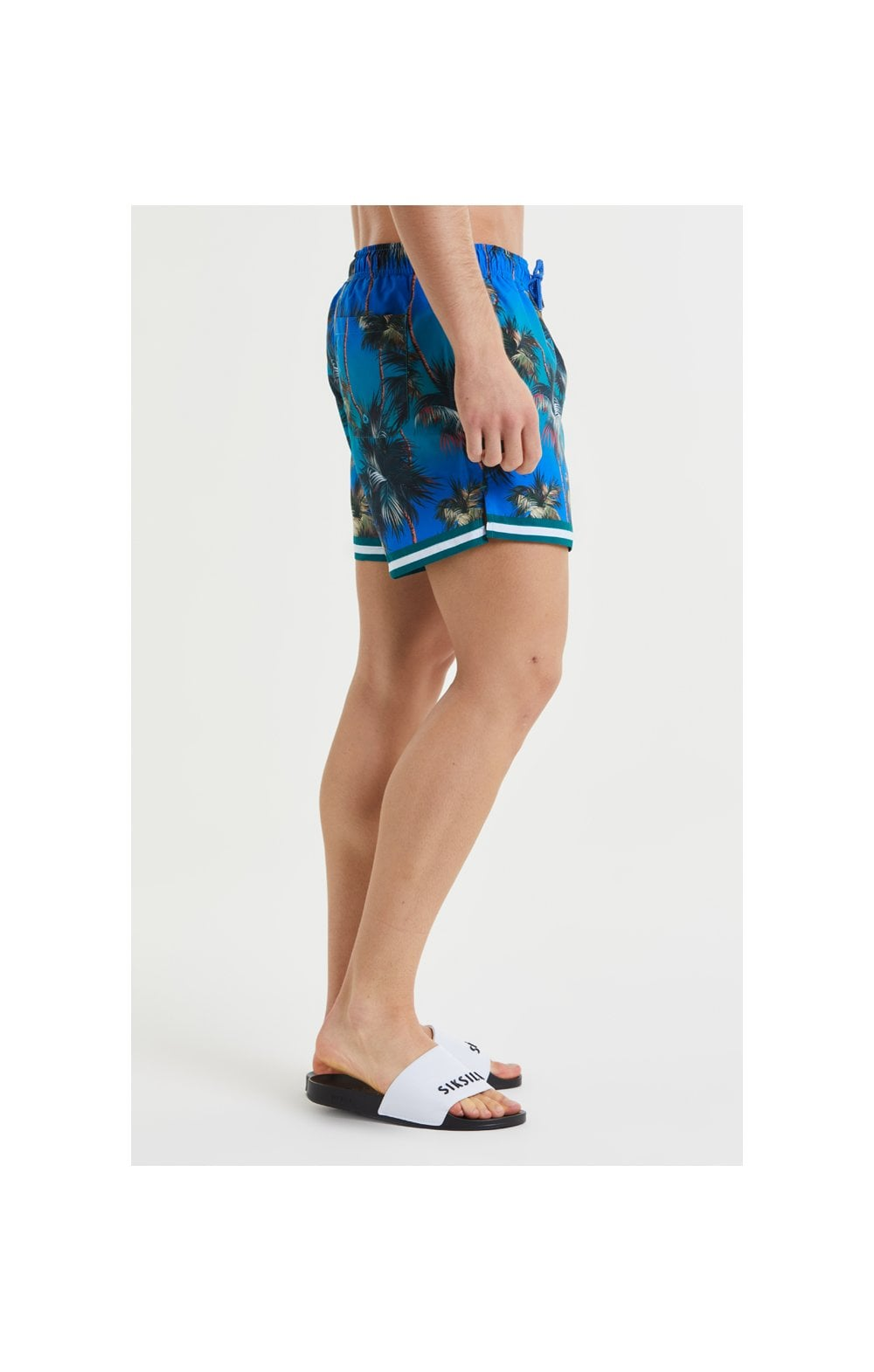 Load image into Gallery viewer, SikSilk Palm Swim Shorts - Blue & Green (3)