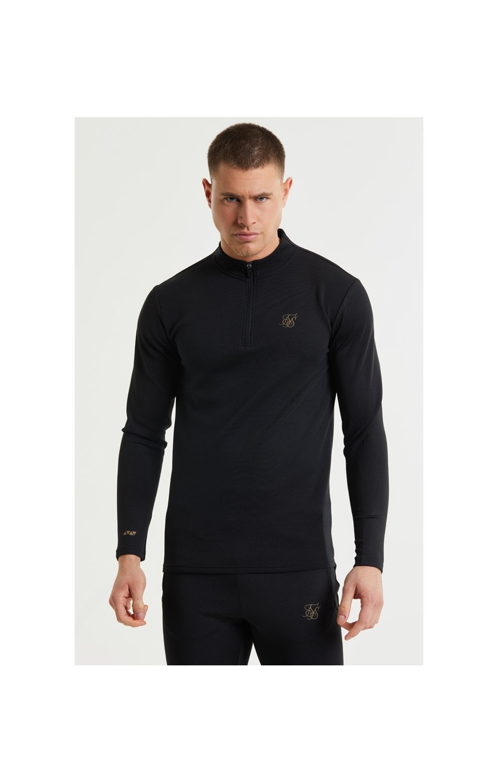 SikSilk L/S Quarter Zip Performance Top - Black & Gold