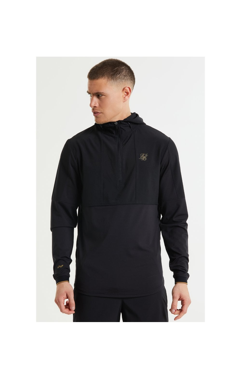 SikSilk Quarter Zip Performance Hoodie - Black & Gold