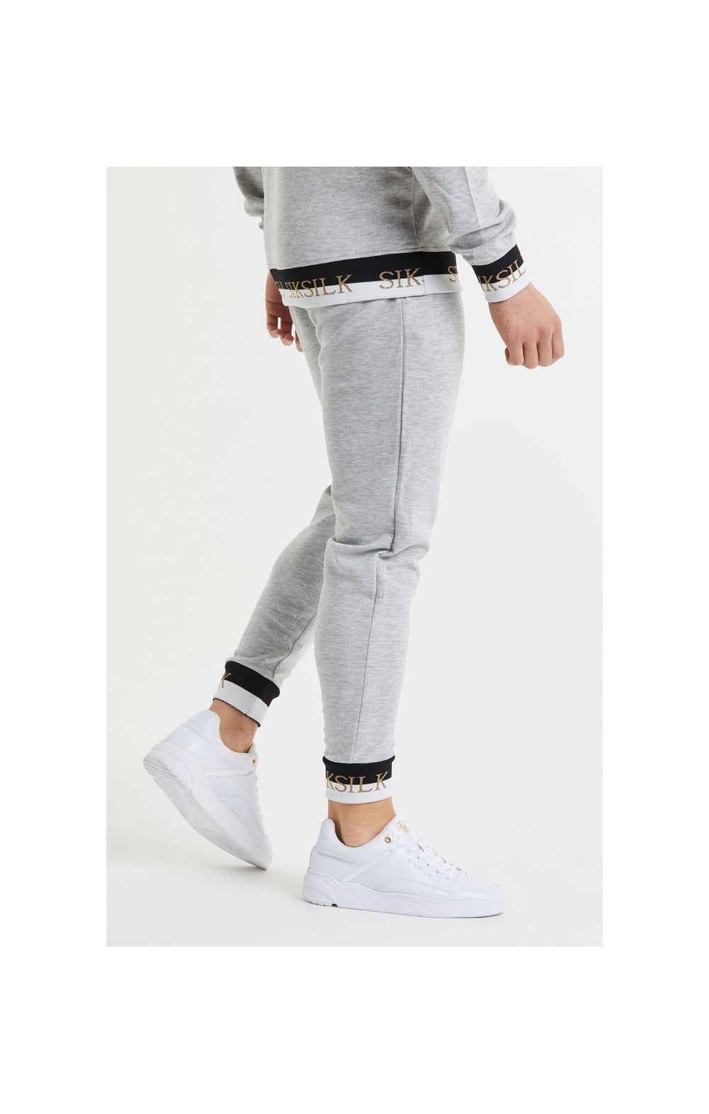 SikSilk Deluxe Fitted Jogger - Grey Marl (1)