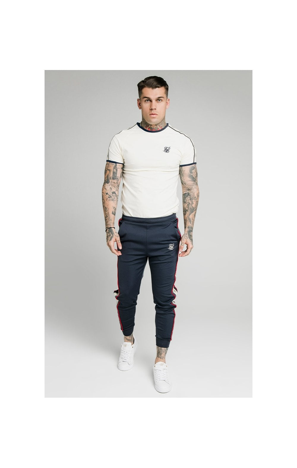 SikSilk S/S Premium Ringer Gym Tee - Off White (2)