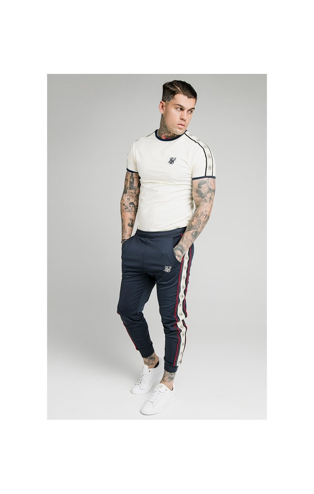 SikSilk S/S Premium Ringer Gym Tee - Off White (3)