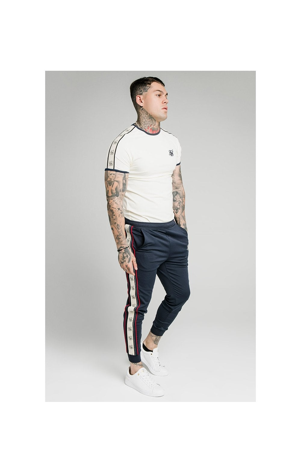 SikSilk S/S Premium Ringer Gym Tee - Off White (4)