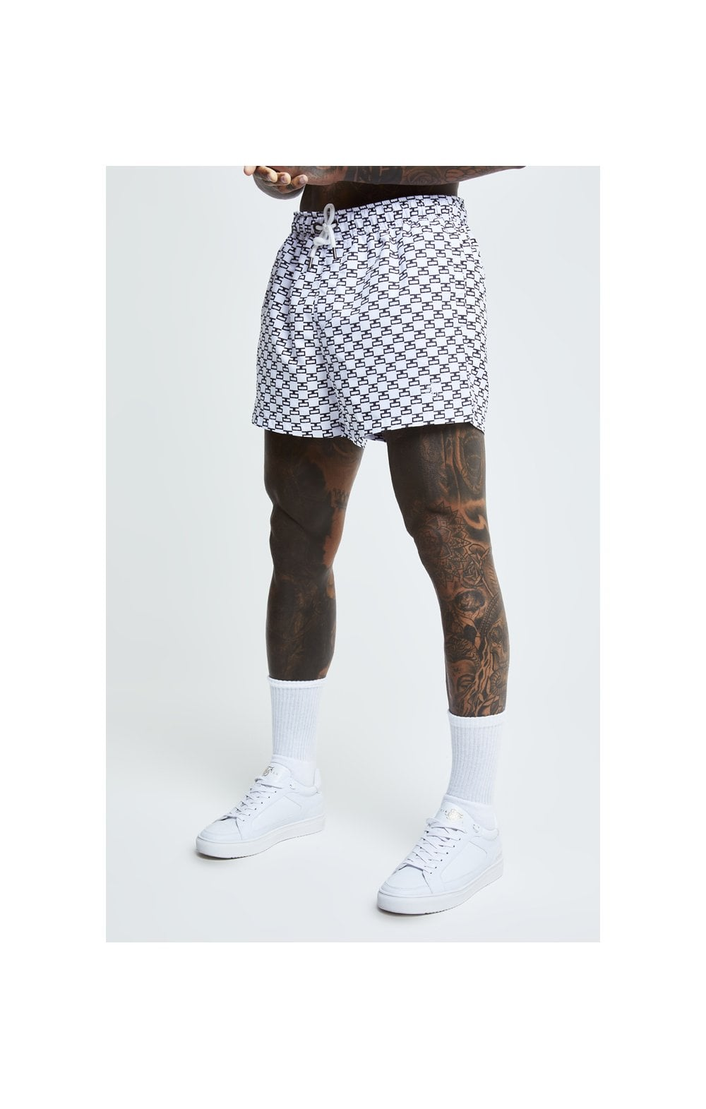 SikSilk Monogram Swim Shorts - White