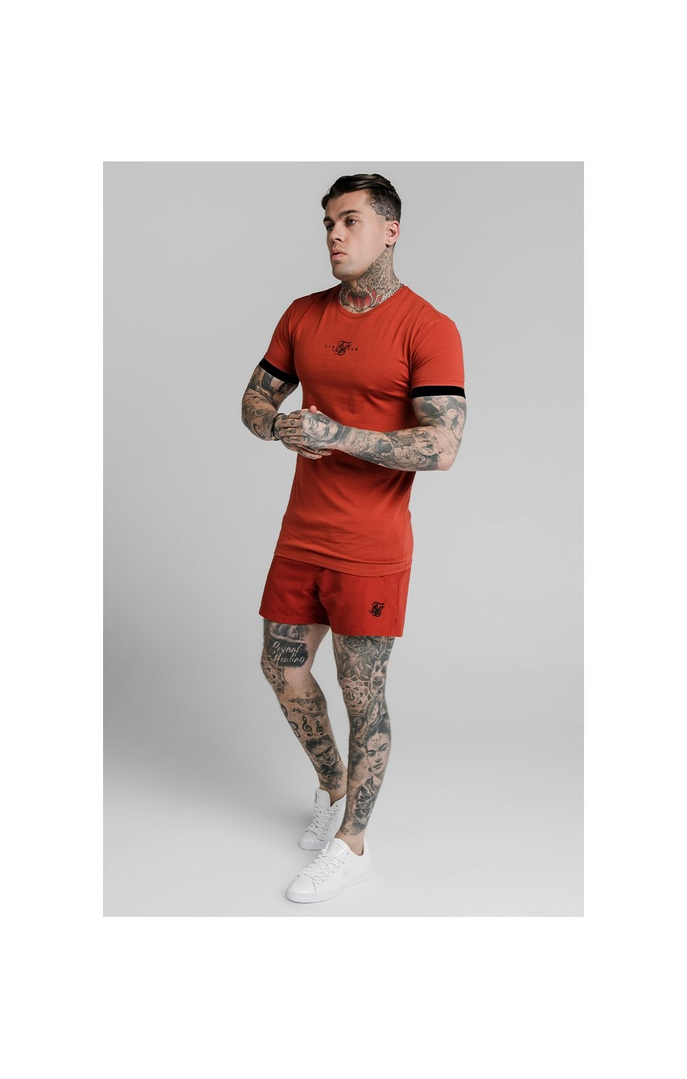 SikSilk Inset Elastic Cuff Gym Tee – Red (2)