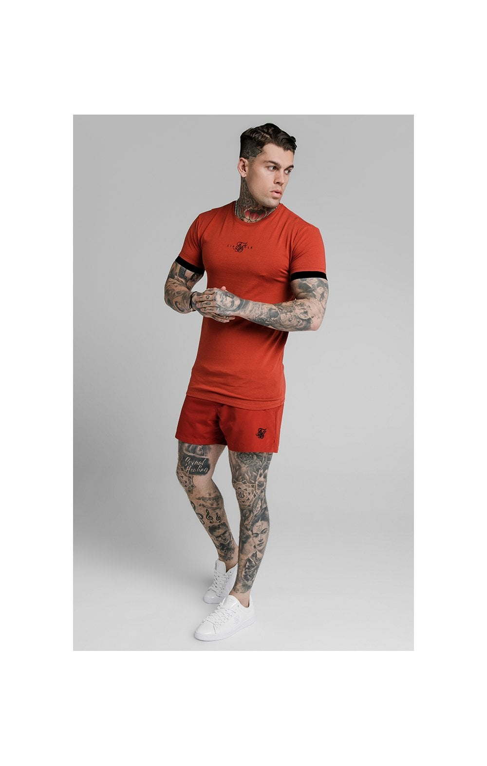 SikSilk Inset Elastic Cuff Gym Tee – Red (3)