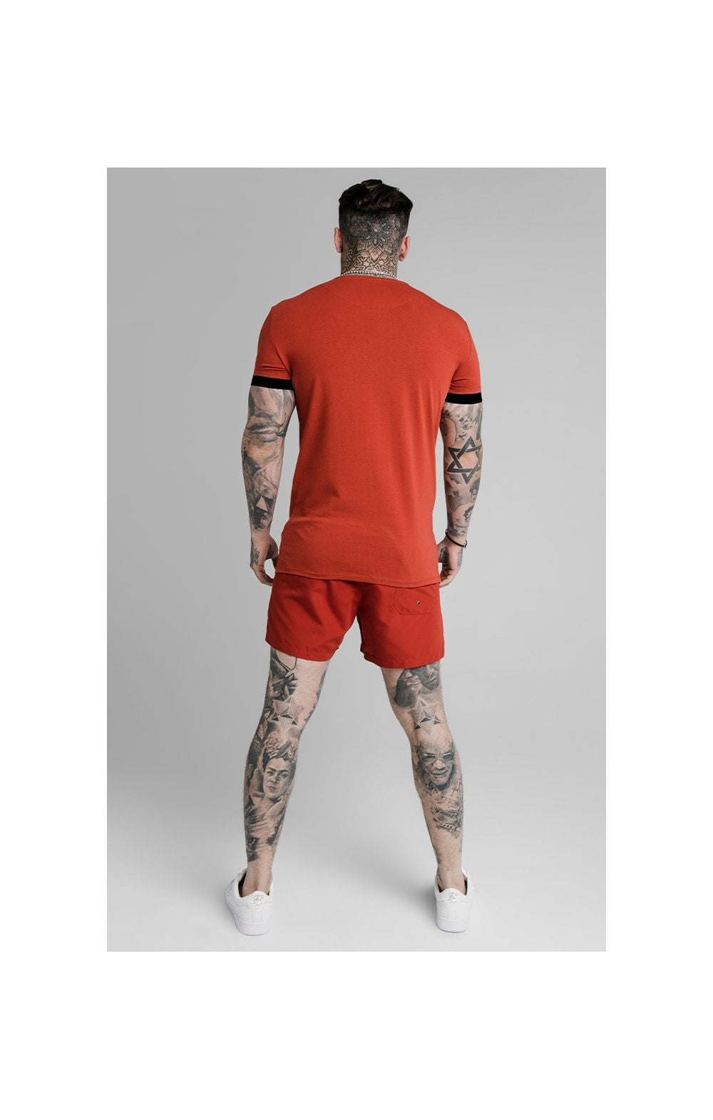 SikSilk Inset Elastic Cuff Gym Tee – Red (5)