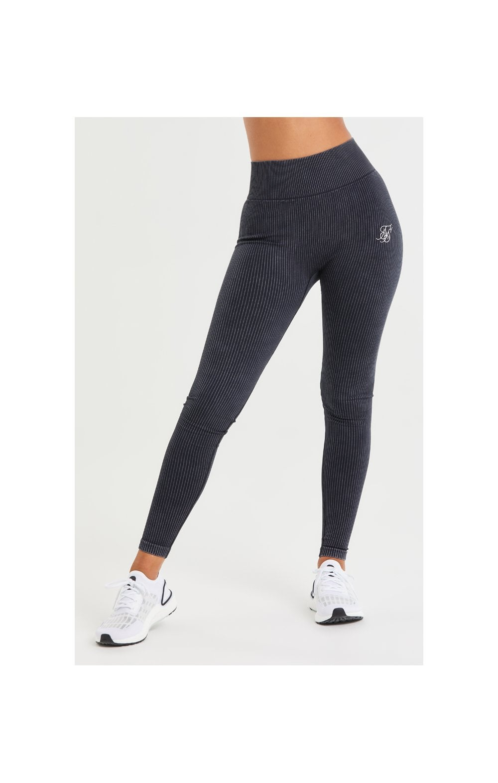 SikSilk Ribbed Gym Leggings – Black