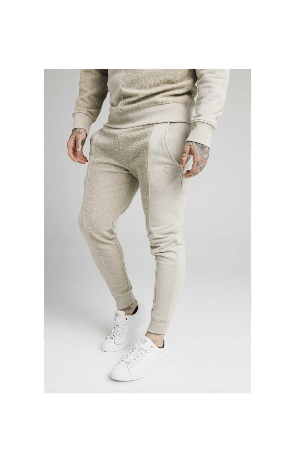 SikSilk Half & Half Fitted Jogger - Stone