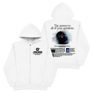 THE ANSWER ZIP UP HOODIE WHITE