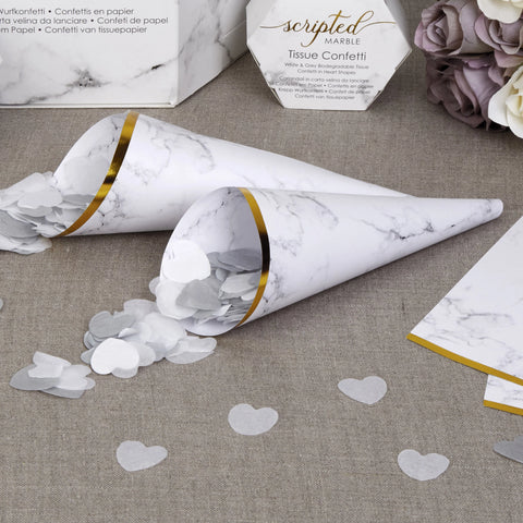 Confetti Cones - Scripted Marble - Wedding Confetti Shop