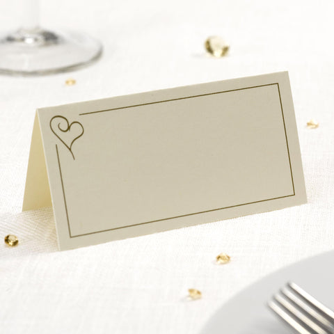 Place Cards - Contemporary Heart - Ivory & Gold - Wedding Confetti Shop