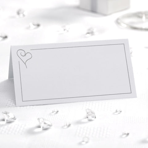 Place Cards - Contemporary Heart - White & Silver - Wedding Confetti Shop
