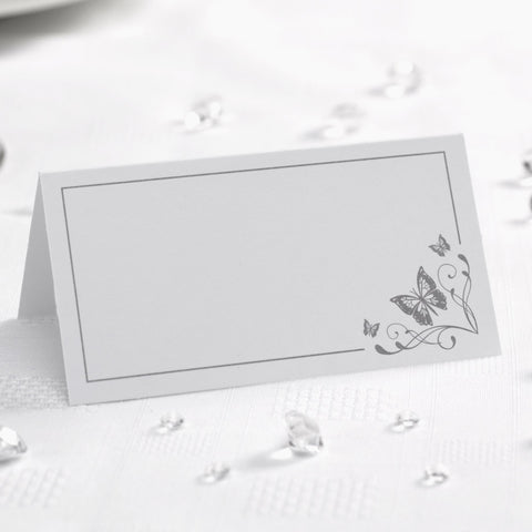 Place Cards - Elegant Butterfly - White & Silver - Wedding Confetti Shop