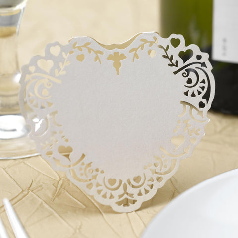 Place Cards - Vintage Romance - Laser Cut - Ivory - Wedding Confetti Shop