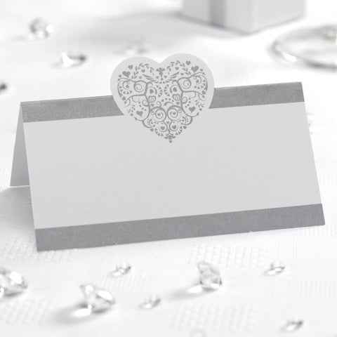 Place Cards - Vintage Romance - White & Silver - Wedding Confetti Shop