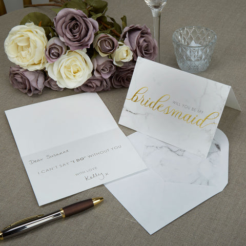 Bridesmaid Cards - Scripted Marble - Wedding Confetti Shop