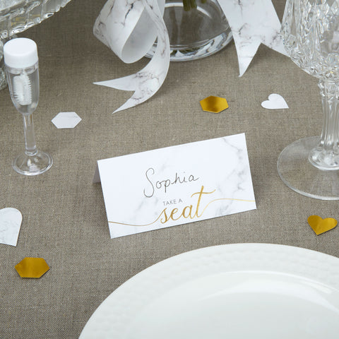 Place Cards - Scripted Marble - Wedding Confetti Shop