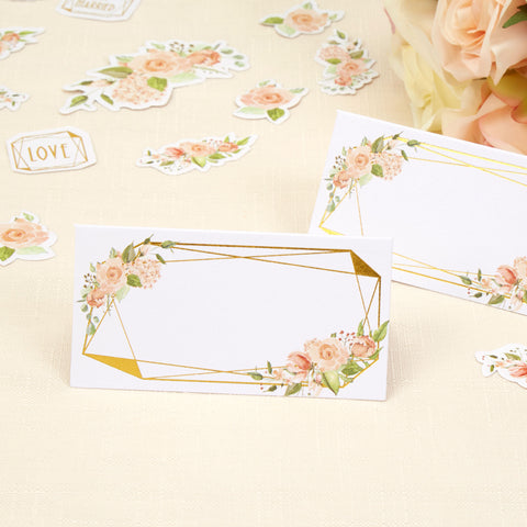 Place Cards - Geo Floral - Wedding Confetti Shop