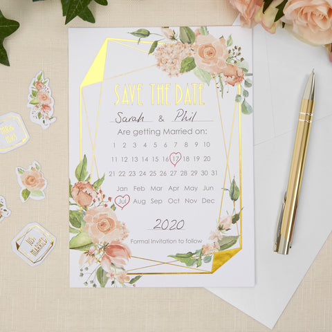 Save The Date - Geo Floral - Wedding Confetti Shop