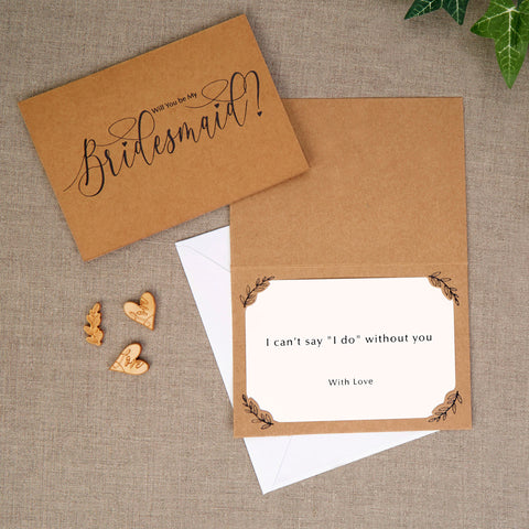 Bridesmaid Cards - Hearts & Krafts - Wedding Confetti Shop