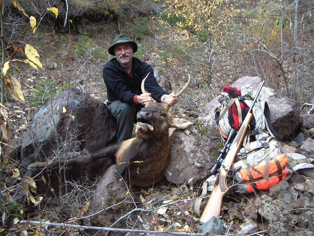Spike Bull elk taken by Orion back pack user