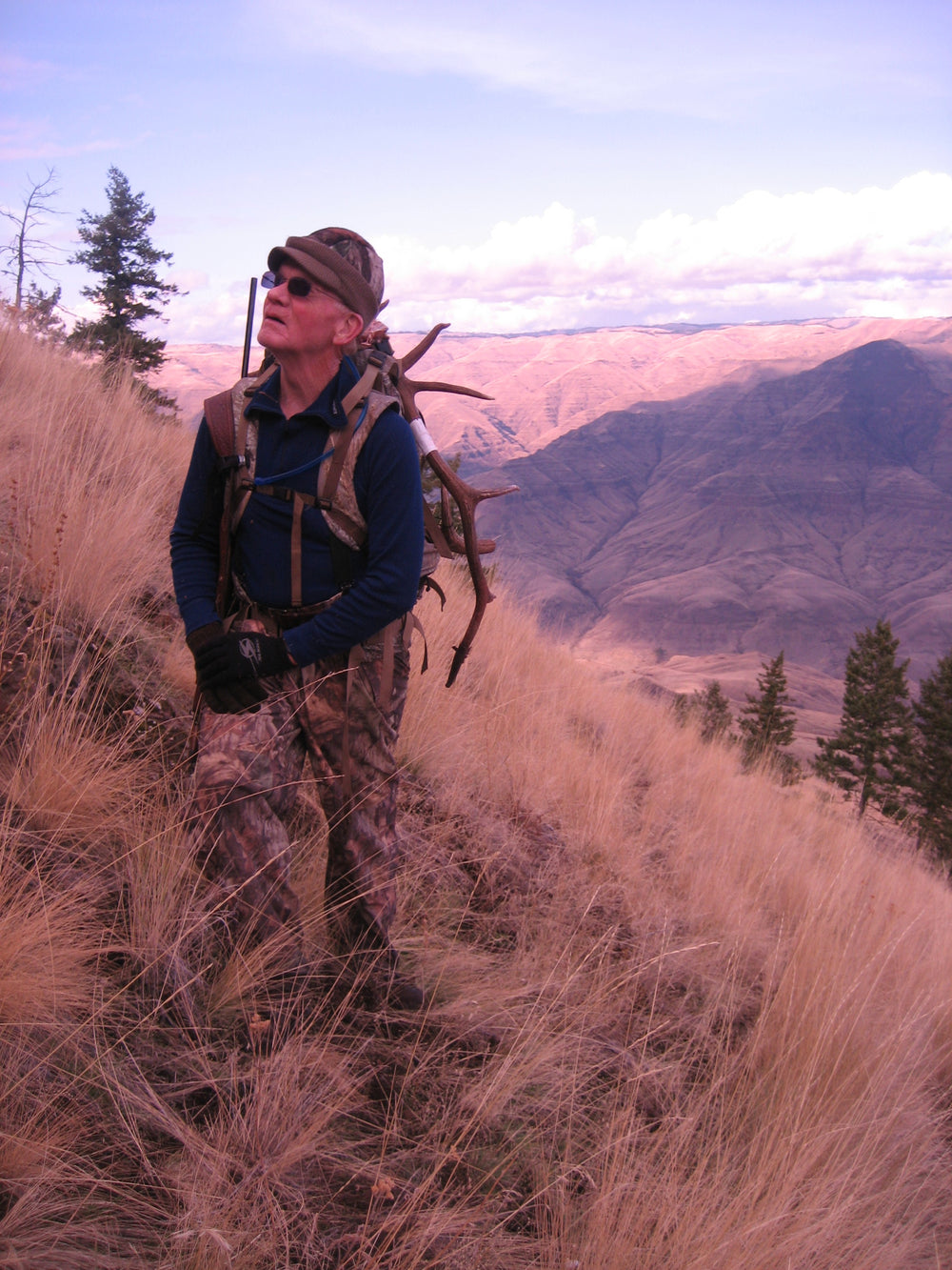 71 year old Elk Hunter with Orion back pack