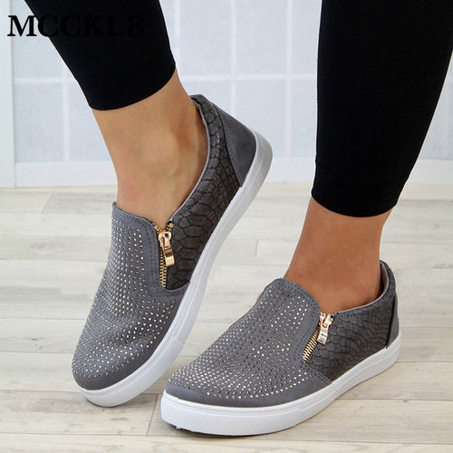Women's Crystal Slip On Flat Loafers With Zipper