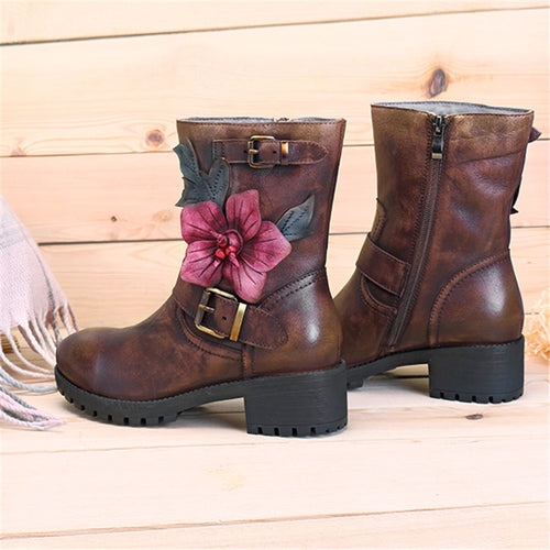 Mid-calf Genuine Leather Plush Fur-lined Motorcycle Boots With Flower Detail